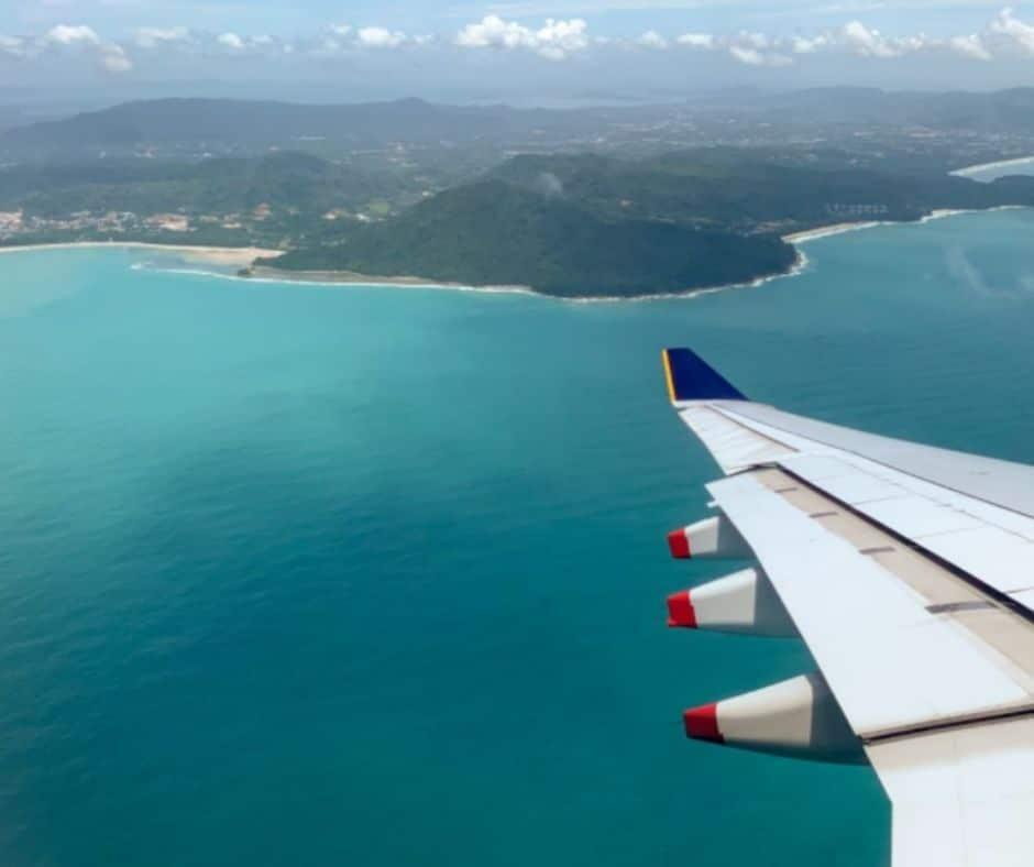 airplane over phuket