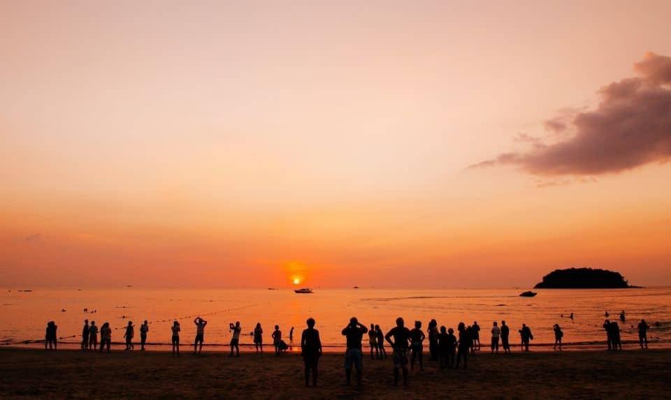 tourist watching sunset