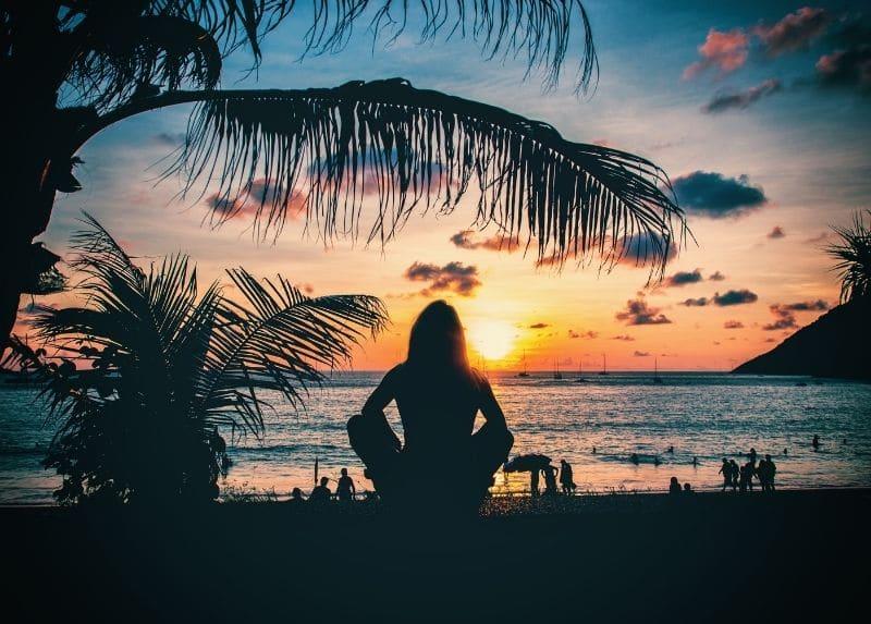 Woman Watching Sunset In Phuket