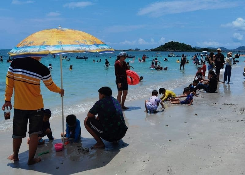 tourists in beach thailand