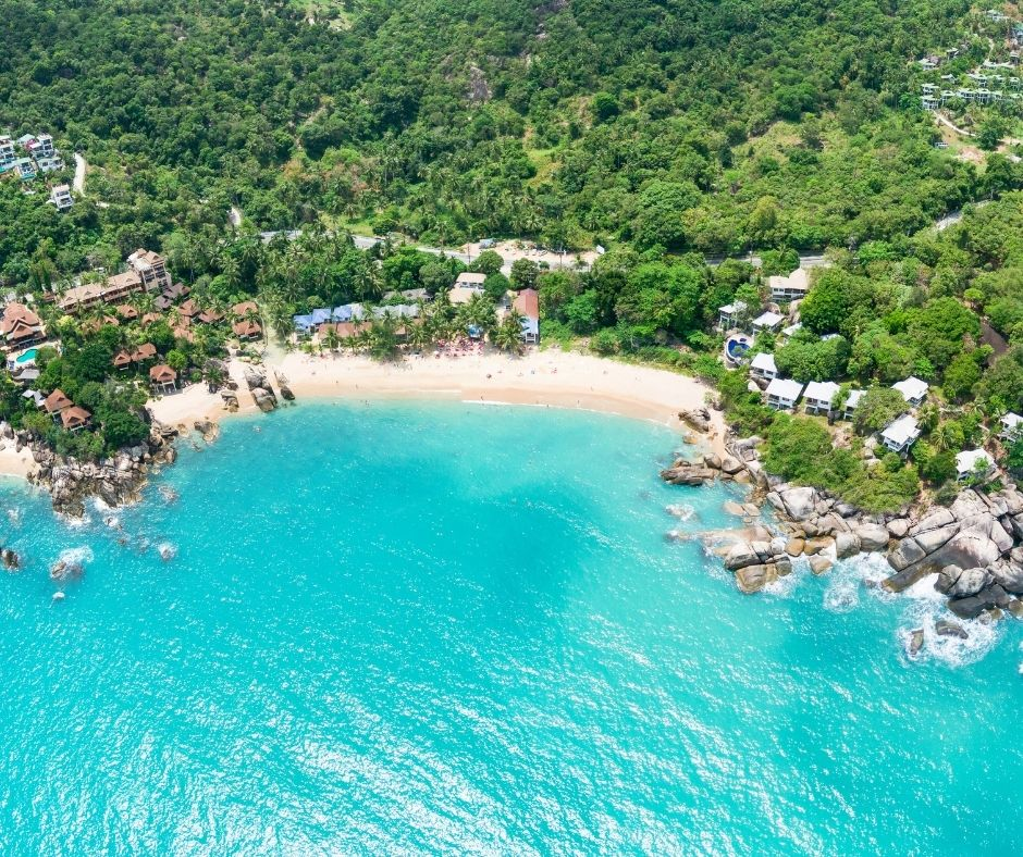 Aerial view of Coral Cove beach in Koh Samui