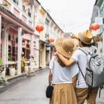 Couple walking at Phuket Old Town