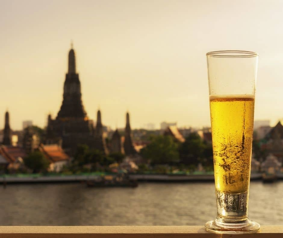 beer temple in thailand background